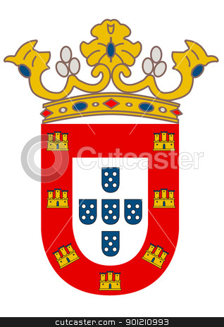 Cueta city coat of arms stock photo, Spanish city of Cueta coat of arms; isolated on white background. by Martin Crowdy