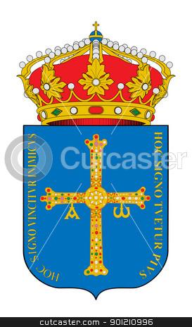Spanish Asturias coat of arms stock photo, Spanish province of Asturias coat of arms; isolated on white background. by Martin Crowdy