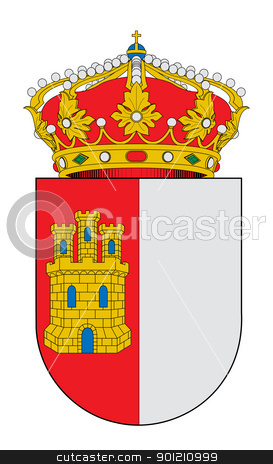 Spanish_Castilla-La-Mancha_coat_of_arms stock photo, Spanish province of Castilla-La-Mancha coat of arms; isolated on white background. by Martin Crowdy