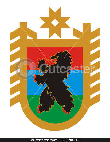 Karelia coat of arms stock photo, Russian federation state of Republic of Karelia coat of arms or seal; isolated on white background. by Martin Crowdy