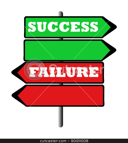 Success and failure road sign stock photo, Success and failure road signs pointing in opposite directions. by Martin Crowdy