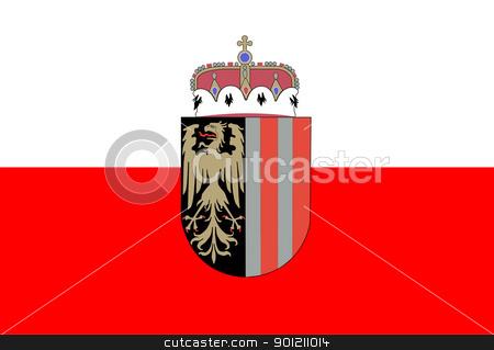 Upper Austria state flag stock photo, Official state flag of Upper Austria with heraldic shield.  by Martin Crowdy