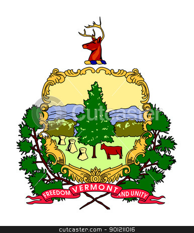 Vermont coat of arms stock photo, Seal or coat of arms of American state of Vermont; isolated on whiite background. by Martin Crowdy