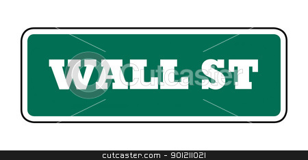 Wall street sign stock photo, New York Wall street sign; isolated on white background. by Martin Crowdy