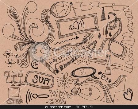 random hand drawn doodles stock photo, random hand drawn doodles by Jeremy Baumann