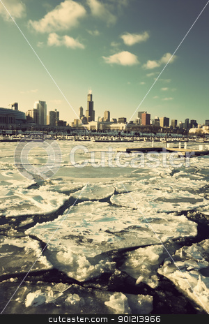 Winter in Chicago stock photo, Winter in Chicago - downtown seen from marina by Henryk Sadura