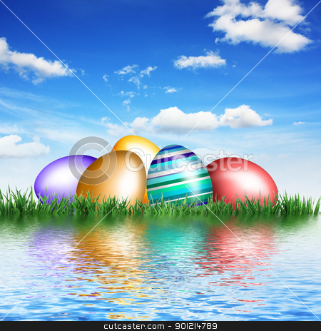Eggs in grass on water stock photo, Nice decoration for Easter time by Viktor Thaut