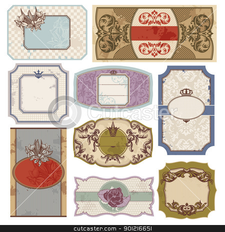 set of vintage labels stock vector clipart, set of retro vintage labels vector illustration by SelenaMay