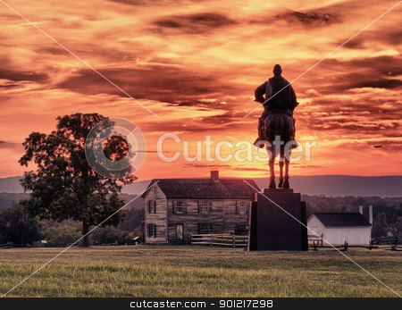 Stonewall Jackson at Manassas Battlefield stock photo, Sunset view of the statue of Andrew Jackson at Manassas Civil War battlefield where the Bull Run battle was fought.  Henry House is in the middleground. The statue was acquired for the nation in 1940. 2011 is the sesquicentennial of the battle by Steven Heap
