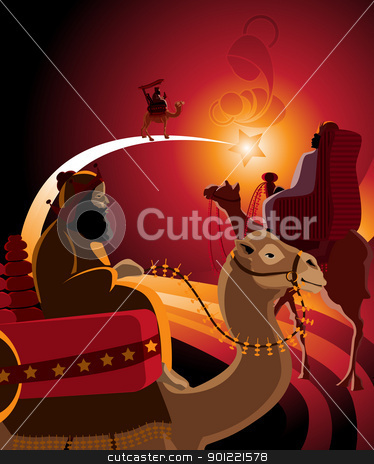 Thetravel of three kings stock vector clipart, Illustration of the journey of the Three Kings in warm colors. by porteador
