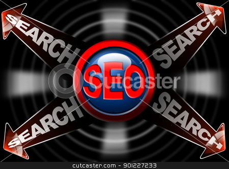 Seo search red arrows - Search engine optimization web stock photo, Illustration with icon SEO, 4 red arrows and written search by catalby