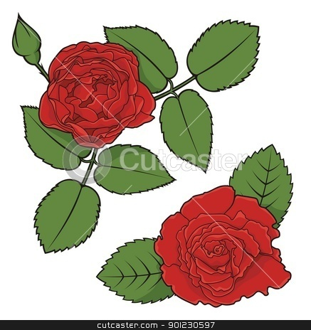 Rose corners stock vector clipart, Illustration of two decorative rose corners isolated on white background. by fractal.gr