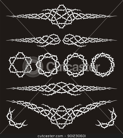 Tribal with thorns stock vector clipart, Tribal white design elements with thorns on black background. by fractal.gr