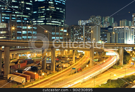 traffic in downtown of Hong Kong  stock photo, traffic in downtown of Hong Kong  by Keng po Leung