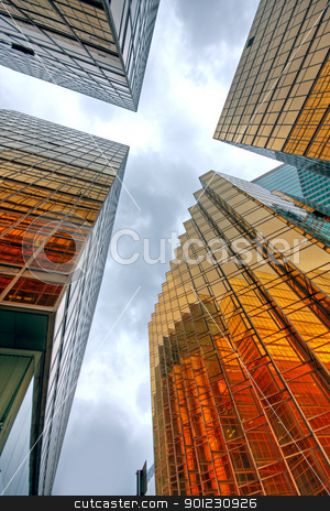 Skyscrapers with clouds reflection  stock photo, Skyscrapers with clouds reflection  by Keng po Leung