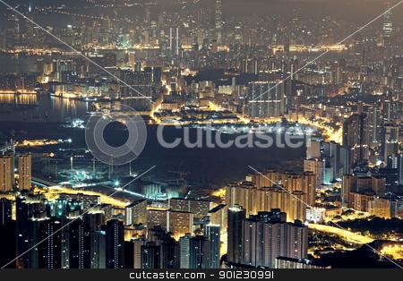 city night stock photo, modern city at night, hong kong by Keng po Leung