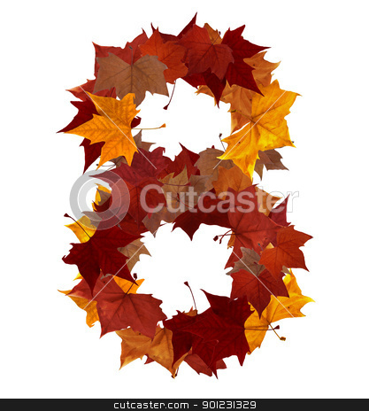 Number eight multicolored fall leaf composition isolated stock photo, Number 8 made with autumn leaves isolated on white with clipping path, so you can easily cut it out and place over the top of a design. Find others symbols in our portfolio to compose your own words. by Cienpies Design