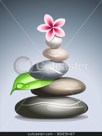 Colored pebbles stock vector clipart, Colored pebbles in a pile by Laurent Renault