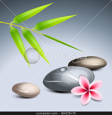 Zen theme 2 stock vector clipart, Zen theme 2 with bamboo and colored pebbles by Laurent Renault