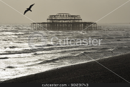 The West Pier, Brighton stock photo, The West Pier in Brighton by a nice winter day, England by Dutourdumonde