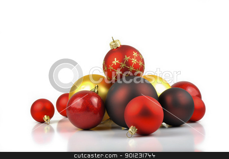 Christmas balls stock photo, Colorful Christmas balls on a white background by Dutourdumonde