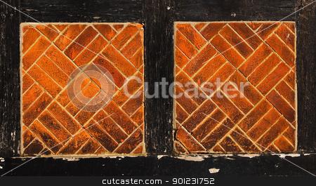 Brick wall stock photo, Brick and black wood brick wall background by Dutourdumonde