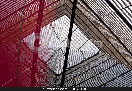 Modern building detail stock photo, Modern building detail, metal structure reflecting on the glass by Dutourdumonde