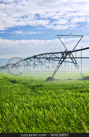 Irrigation equipment on farm field stock photo, Industrial irrigation equipment on farm field in Saskatchewan, Canada by Elena Elisseeva