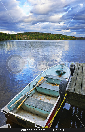 Rowboat docked on lake stock photo, Rowboat docked on Lake of Two Rivers in Algonquin Park, Ontario, Canada by Elena Elisseeva