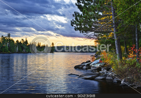 Dramatic sunset at lake stock photo, Dramatic sunset and pines at Lake of Two Rivers in Algonquin Park, Ontario, Canada by Elena Elisseeva