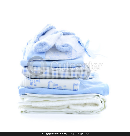 Baby boy clothes stock photo, Stack of blue infant clothing for baby shower isolated on white background by Elena Elisseeva