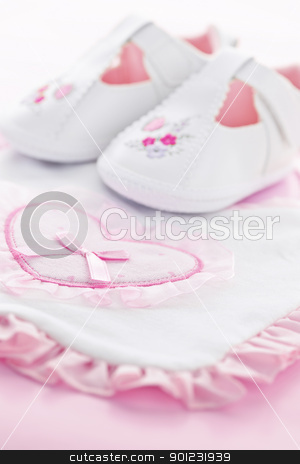 Pink baby girl clothes stock photo, Pink infant girl clothing for baby shower by Elena Elisseeva