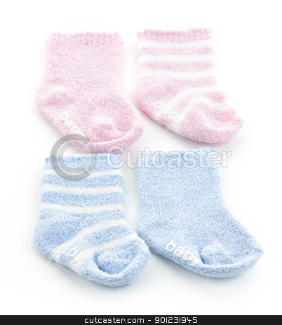 Baby socks stock photo, Arrangement of two pairs of infant socks for baby shower by Elena Elisseeva
