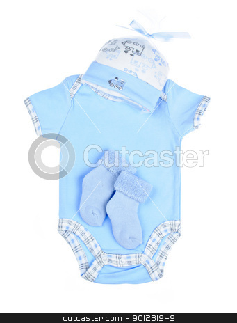 Blue baby clothes for infant boy stock photo, Blue infant boy clothing for baby shower isolated on white background by Elena Elisseeva