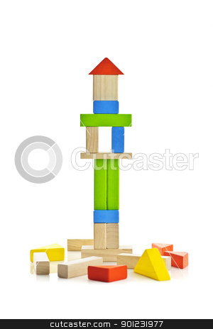 Wooden block tower stock photo, Tower of wooden building block toys isolated on white background by Elena Elisseeva