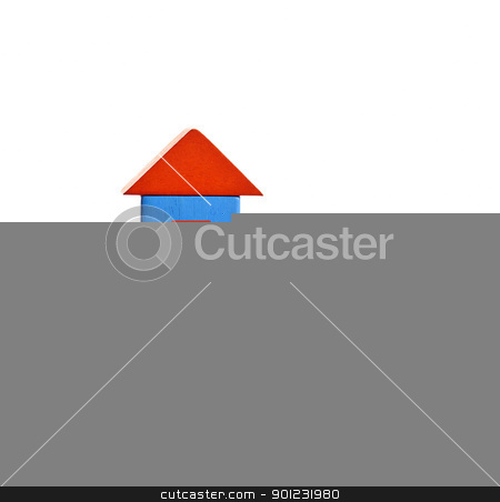 Wooden block house on hand stock photo, Hand holding wooden block house isolated on white background by Elena Elisseeva