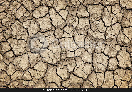 Dry cracked ground during drought stock photo, Background of dry cracked soil dirt or earth during drought by Elena Elisseeva