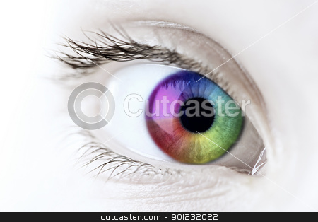 Rainbow eye closeup stock photo, Female eye with rainbow multicolored iris close up by Elena Elisseeva