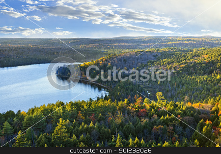 Fall forest and lake top view stock photo, Fall forest and lake with colorful trees from above in Algonquin Park, Canada by Elena Elisseeva