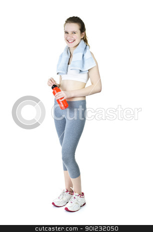 Happy fit girl after working out stock photo, Happy fit young woman after workout with towel and water bottle by Elena Elisseeva