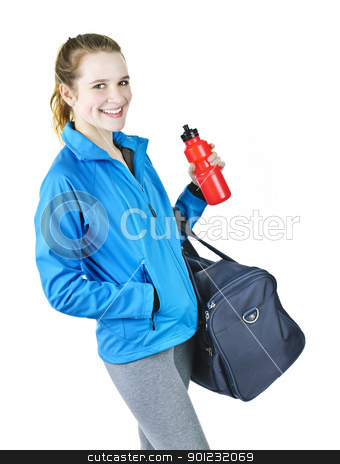 Sporty girl ready for workout stock photo, Smiling fit young woman with gym bag and water bottle ready for fitness exercise by Elena Elisseeva
