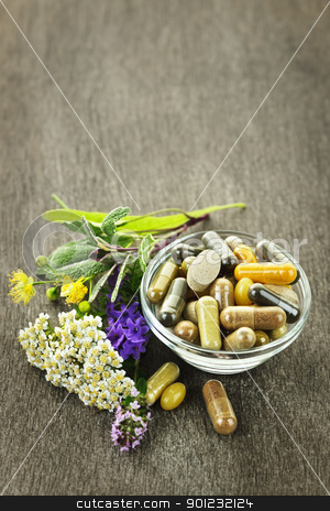 Herbal medicine and herbs stock photo, Herbs with alternative medicine herbal supplements and pills by Elena Elisseeva
