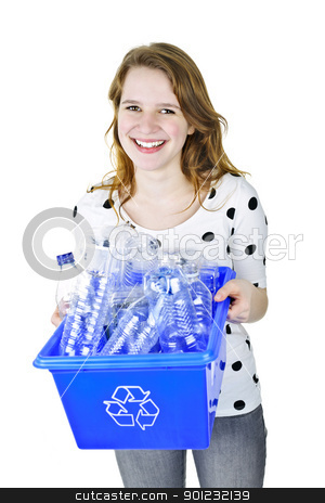 Young woman holding recycling box stock photo, Smiling young woman holding full recycling box isolated on white by Elena Elisseeva
