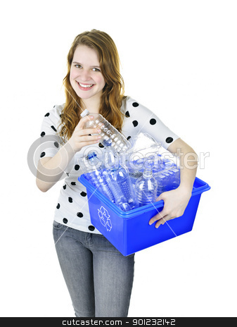 Young woman with recycling box stock photo, Smiling young woman putting plastic bottle into recycling box by Elena Elisseeva