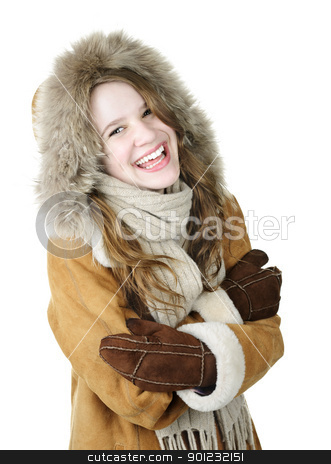 Laughing winter girl in hood stock photo, Playful young woman in winter coat on white background by Elena Elisseeva