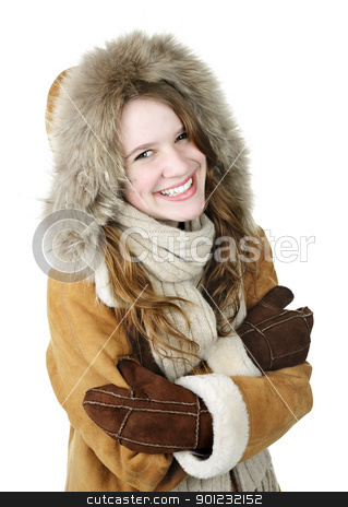 Happy winter girl in hood stock photo, Cozy smiling young woman in winter coat on white background by Elena Elisseeva