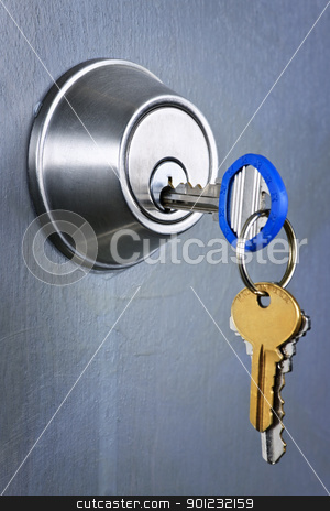 Keys in lock stock photo, Keys inserted in door lock close up by Elena Elisseeva