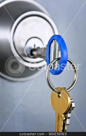 Keys in lock stock photo, Keys inserted in door lock close up by Elena Elisseeva