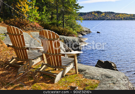 Adirondack chairs at lake shore stock photo, Adirondack chairs at shore of  Lake of Two Rivers, Ontario, Canada by Elena Elisseeva