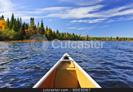 Canoe bow on lake stock photo, Bow of canoe on Lake of Two Rivers, Ontario, Canada by Elena Elisseeva